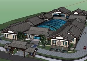 政府中式办公建筑楼设计SU(草图大师)模型