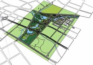 公园景观概念规划详细设计SU(草图大师)模型