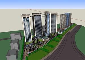 某现代风格详细商业住宅高层建筑SU(草图大师)模型