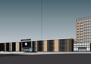 某汽车站及办公建筑楼设计SU(草图大师)模型