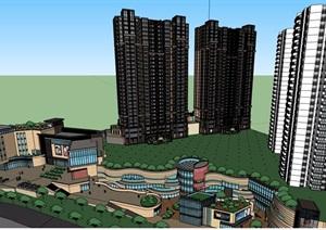新古典风格商业及高层住宅楼建筑SU(草图大师)模型
