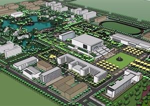 某详细完整的大学校园景观设计SU(草图大师)模型