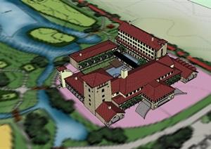 欧式风格详细的酒店多层设计SU(草图大师)模型