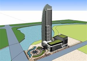 详细完整的星级酒店SU(草图大师)模型