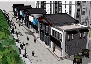 中式风格详细的商业住宅楼建筑SU(草图大师)模型