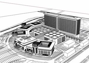 欧式风格详细的多层医院建筑楼设计SU(草图大师)模型
