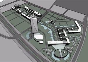 某现代风格商业中心及办公楼设计SU(草图大师)模型