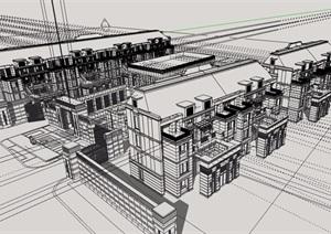 欧式风格售楼建筑及住宅建筑楼设计SU(草图大师)模型