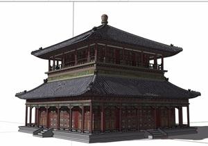 古典中式两层详细的茶楼建筑设计SU(草图大师)模型