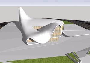 某独特造型的文化中心建筑楼设计SU(草图大师)模型