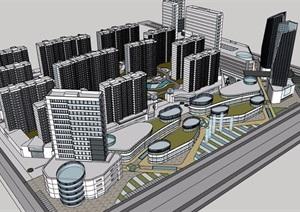 商业详细完整的居住小区楼设计SU(草图大师)模型