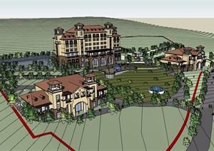 地中海酒店详细多层完整建筑设计SU(草图大师)模型