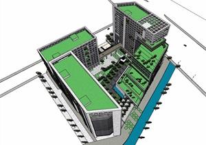 详细的多栋办公建筑楼设计SU(草图大师)模型
