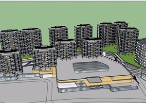 现代多层商业详细住宅楼设计SU(草图大师)模型