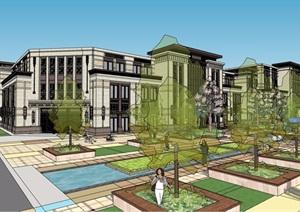 新古典风格详细完整的售楼处建筑SU(草图大师)模型