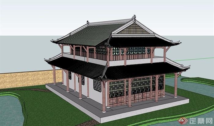 古典中式风格详细旅游古建筑设计su模型[原创]