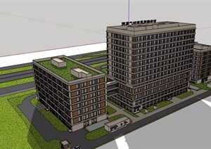 某详细的医疗医院建筑设计SU(草图大师)模型