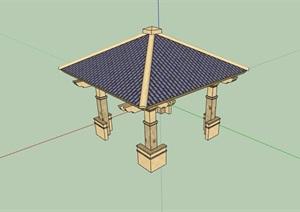 详细的欧式园林景观亭子设计SU(草图大师)模型