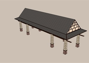 中式风格详细的长廊亭设计SU(草图大师)模型