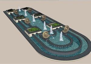 欧式园林景观雕塑喷泉水池设计SU(草图大师)模型