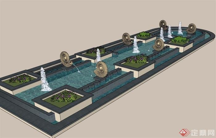 欧式园林景观雕塑喷泉水池设计su模型