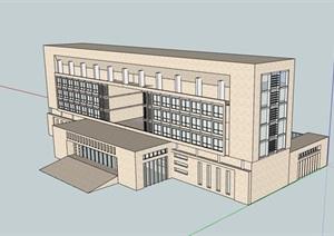 现代详细办公建筑楼素材设计SU(草图大师)模型