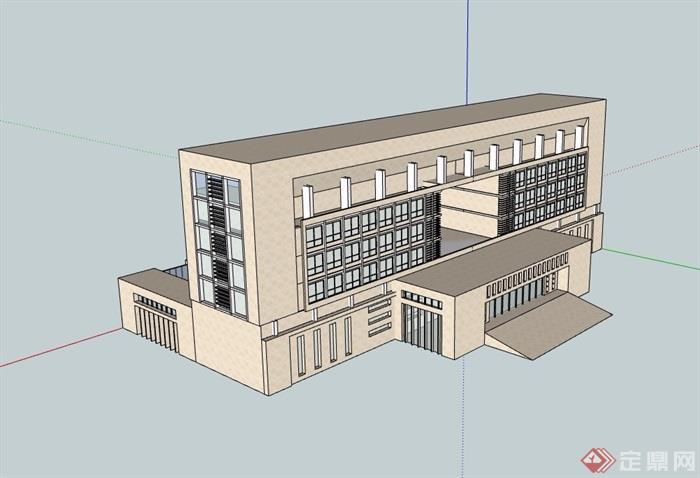 现代详细办公建筑楼素材设计su模型