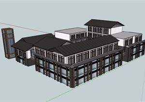 中式多层详细完整的商业楼设计SU(草图大师)模型