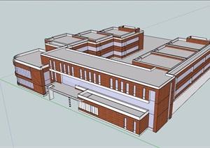 现代风格详细多层学校教育建筑楼设计SU(草图大师)模型