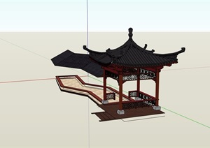 完整详细的亭子设计SU(草图大师)模型