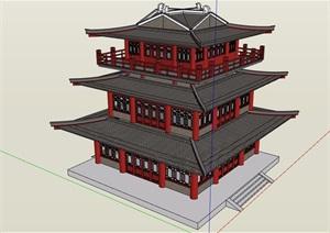 古典中式风格详细的景区三层建筑设计SU(草图大师)模型