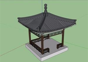 凉亭古典中式风格设计SU(草图大师)模型