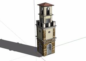某欧式风格塔楼经典设计SU(草图大师)模型