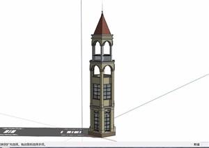 景观节点塔设计SU(草图大师)模型