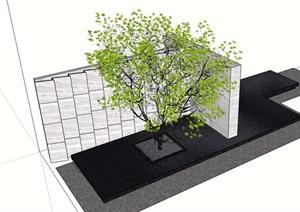 详细的景墙及种植树池设计SU(草图大师)模型