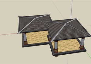 欧式详细的完整双亭素材设计SU(草图大师)模型