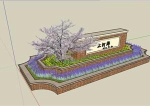 详细的景墙种植花池设计SU(草图大师)模型