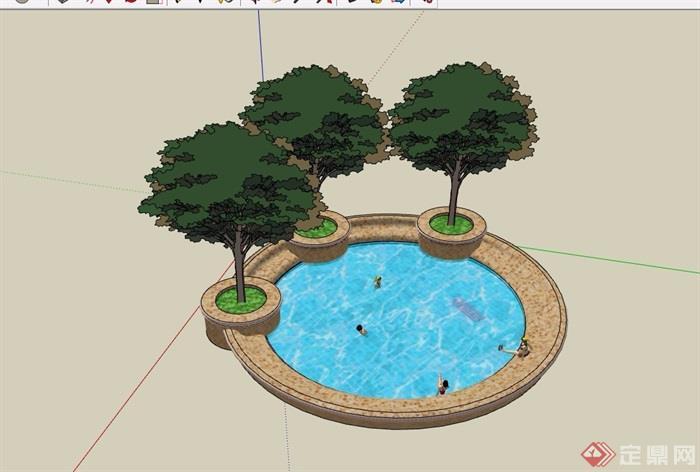 圆形详细的树池及泳池设计su模型