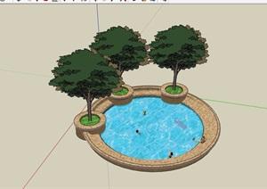 圆形详细的树池及泳池设计SU(草图大师)模型