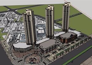 详细的欧式商业居住楼建筑设计SU(草图大师)模型