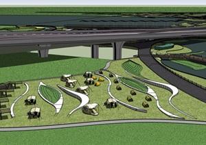 某详细的滨水城市规划SU(草图大师)模型