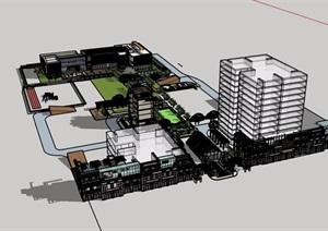 某详细的中式商业及住宅建筑楼SU(草图大师)模型