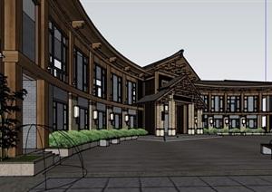 弧形酒店两层详细的建筑设计SU(草图大师)模型
