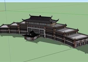 古典中式风格详细的多层星级酒店SU(草图大师)模型