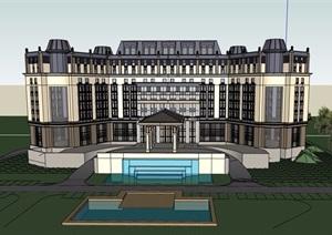 欧式详细的多层完整酒店设计SU(草图大师)模型