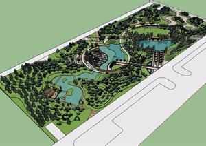某详细完整的滨水公园景观设计SU(草图大师)模型