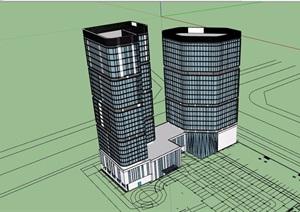 现代详细完整的星级酒店设计SU(草图大师)模型
