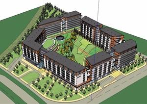 某详细完整的星级酒店建筑设计SU(草图大师)模型