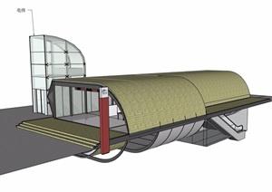 现代地铁站出入口设计SU(草图大师)模型