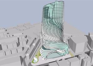 高层独特详细完整的酒店建筑设计SU(草图大师)模型